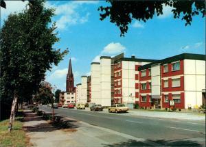 Ansichtskarte  Hauptstrasse Kathotlische Pfarrkirche Autos ua. Mercedes 1979