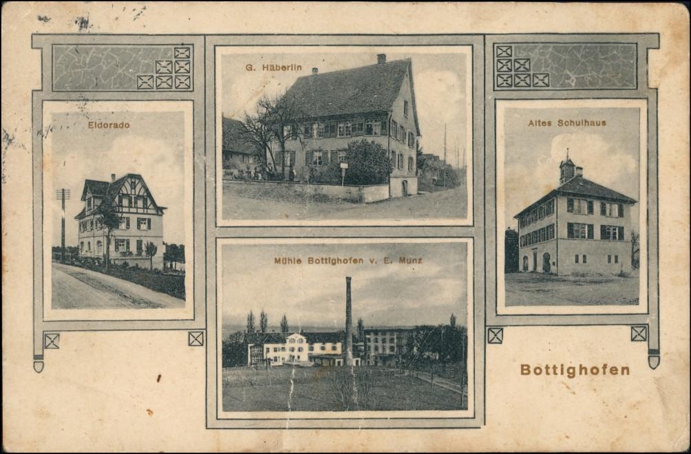 Ansichtskarte Bottighofen Bz Kreuzlingen Mühle, Schule, Eldorado 1912