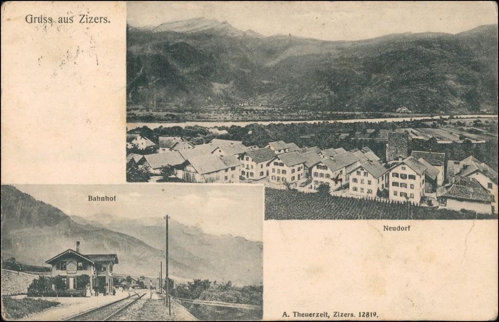 Ansichtskarte Zizers (Landquart) Neudorf und Bahnhof 1909