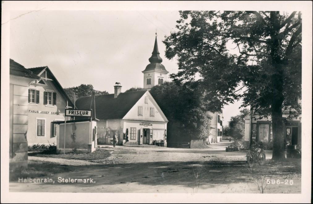 Ansichtskarte Halbenrain Straße, Friseur - Gasthaus 1951
