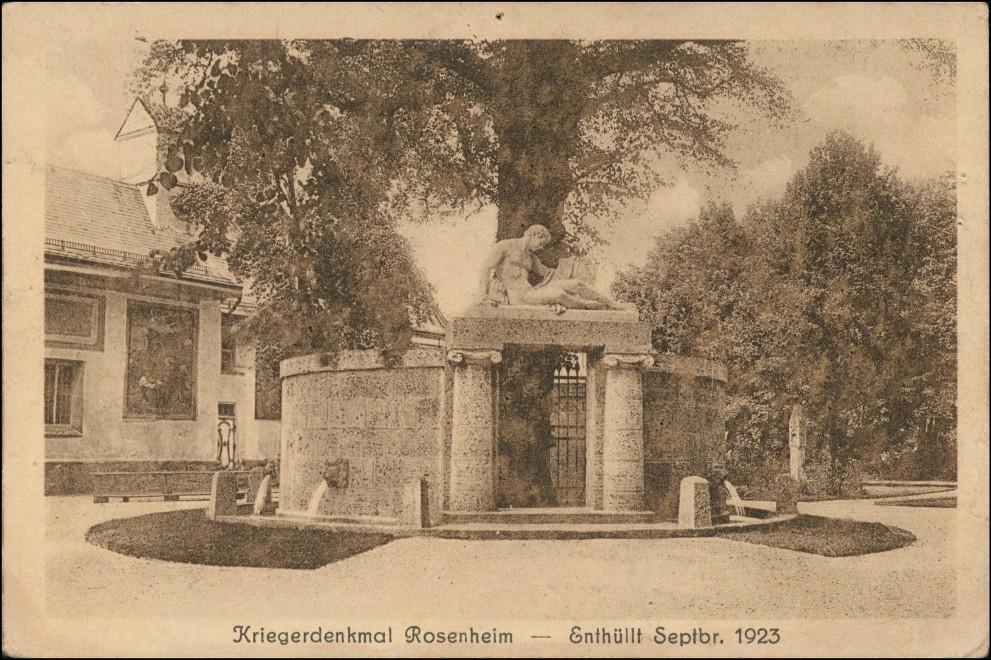 Ansichtskarte Rosenheim Kriegerdenkmal 1923 1924