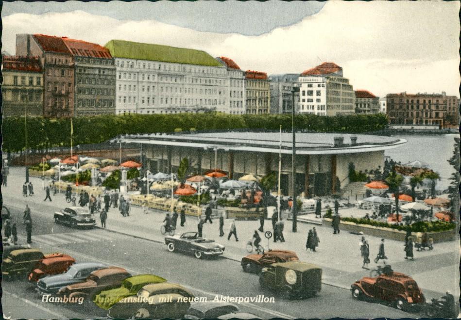Hamburg Jungfernstieg Auto Autos Cabrio Verkehr am Alster-Pavillon 1955