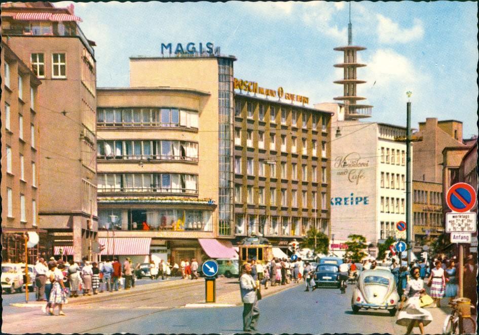 Hannover Karmarschstraße Fußgänger Verkehr, Autos ua. VW Käfer 1960