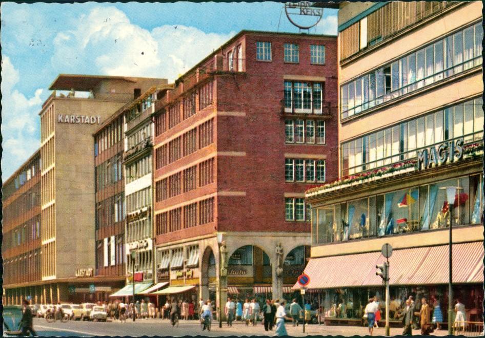 Hannover Georgstraße mit Karstadt Kaufhaus Geschäft Magis uvm. 1967