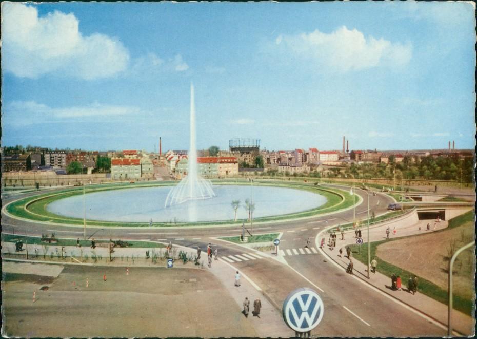 Aachen Fontäne am Verteilerring, Kreis-Verkehr, VW Werbesymbol 1959