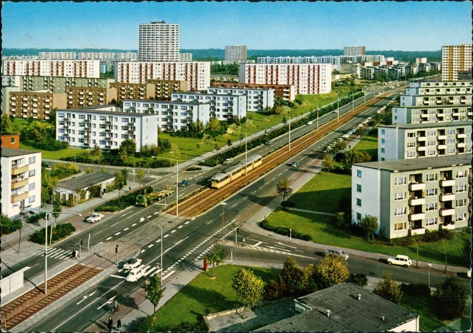 Ansichtskarte Bremen Straßenbahn Tram Neue Vahr Wohnblock Siedlung 1969