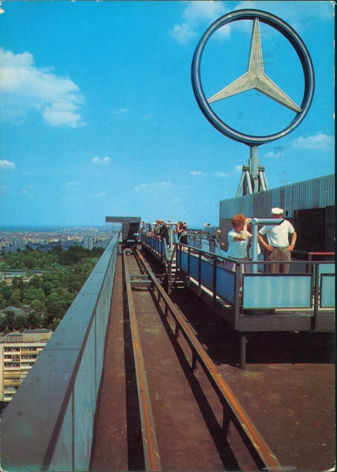 Charlottenburg-Berlin Mercedes Stern auf Europa-Center  von Dach Terrasse 1977