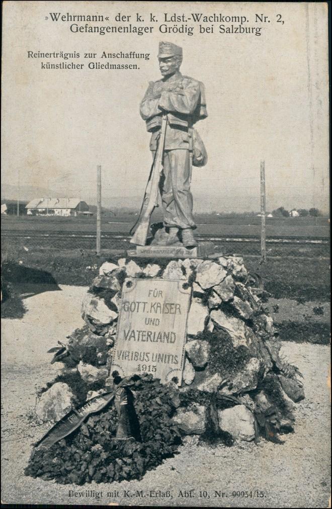 Ansichtskarte Salzburg Wehrmann Gefangenenlager Grödig 1917