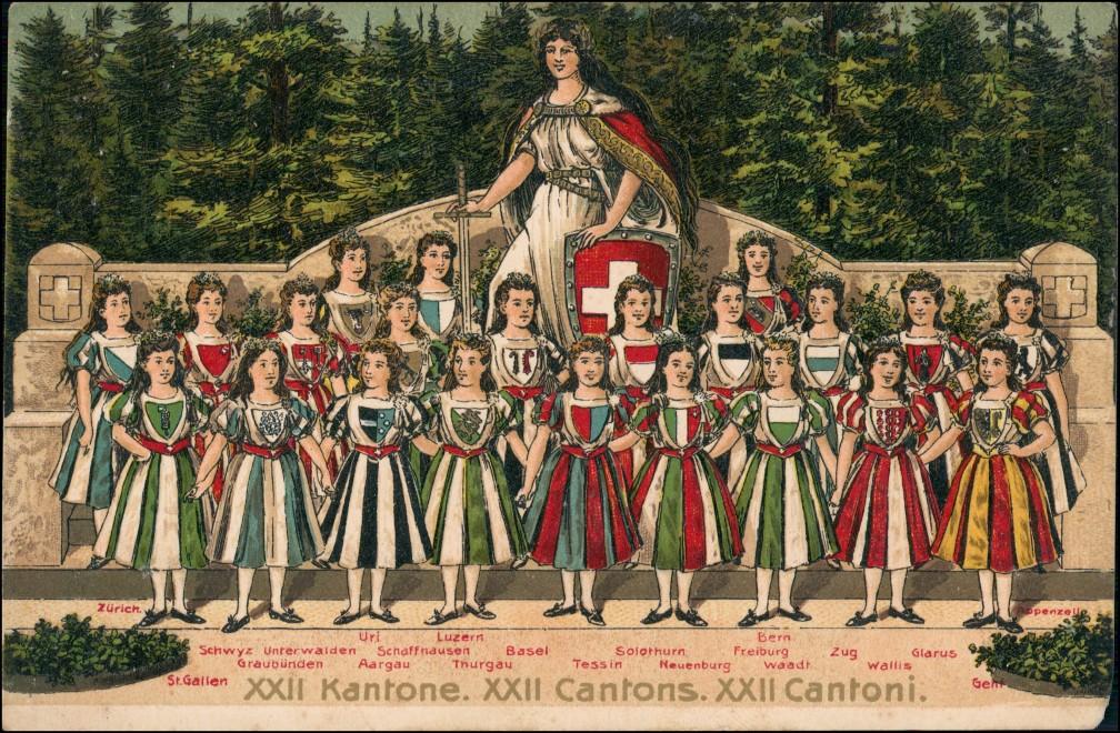 .Schweiz Prägekarte Patriotika 22 Kantone Cantons Cantoni 1912 Prägekarte