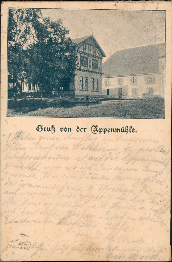 Ansichtskarte Daxlanden-Karlsruhe Appenmühle 1895