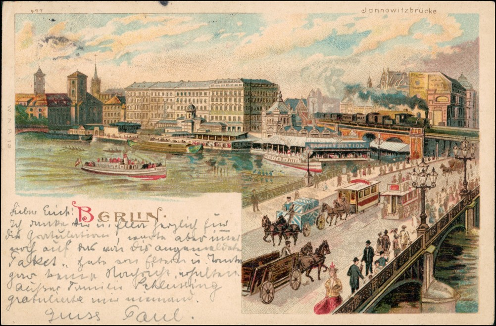 Mitte-Berlin Jannowitzbrücke - Künstlerkarte Verkehr Station 1901