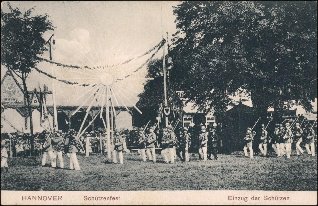 Ansichtskarte Hannover Schützenfest Einzug der Schützen RAR 1907