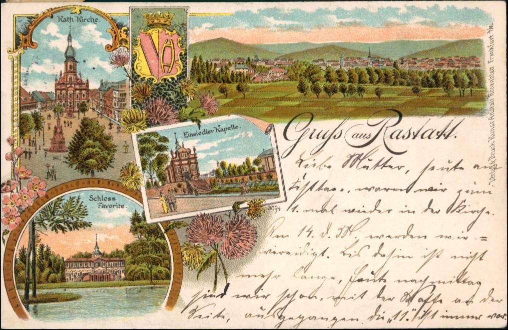 Ansichtskarte Litho AK Rastatt Gruss aus Schloß, Kirche, Stadt 1906