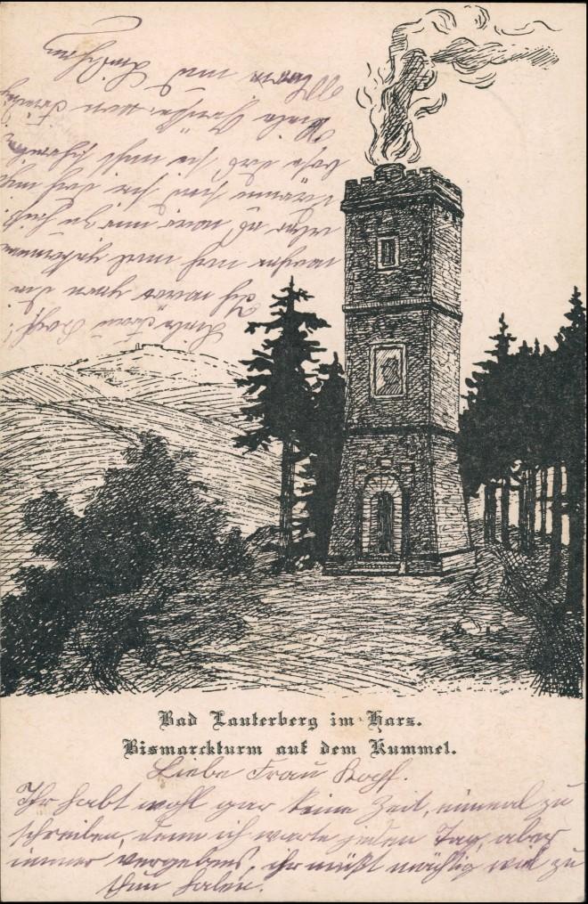 Bad Lauterberg im Harz Bismarckturm auf dem Kummel Künstlerkarte 1911