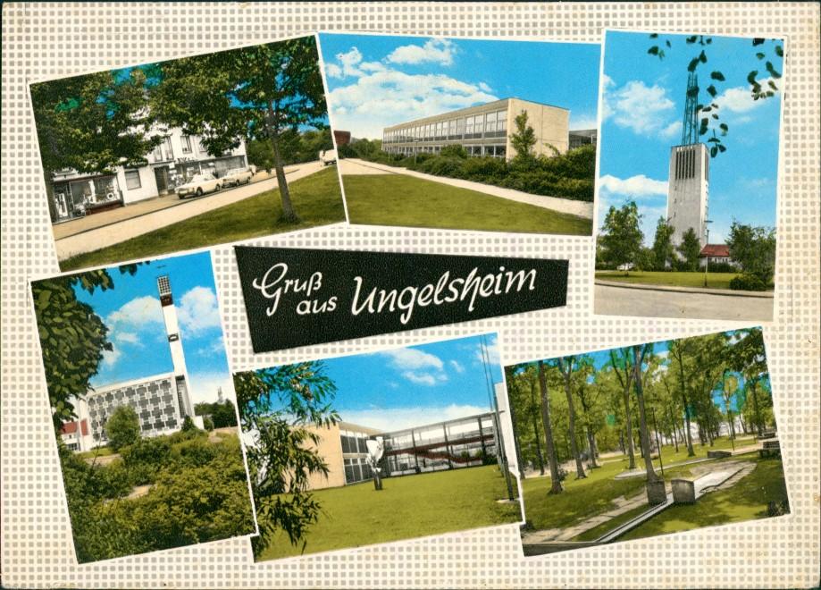 Ungelsheim DU-Ungelsheim Mehrbild-AK 6 Ansichten ua. Kirche Schule uvm. 1965   gelaufen mit Stempel von DUISBURG  gelaufen mit Stempel von DUISBURG
