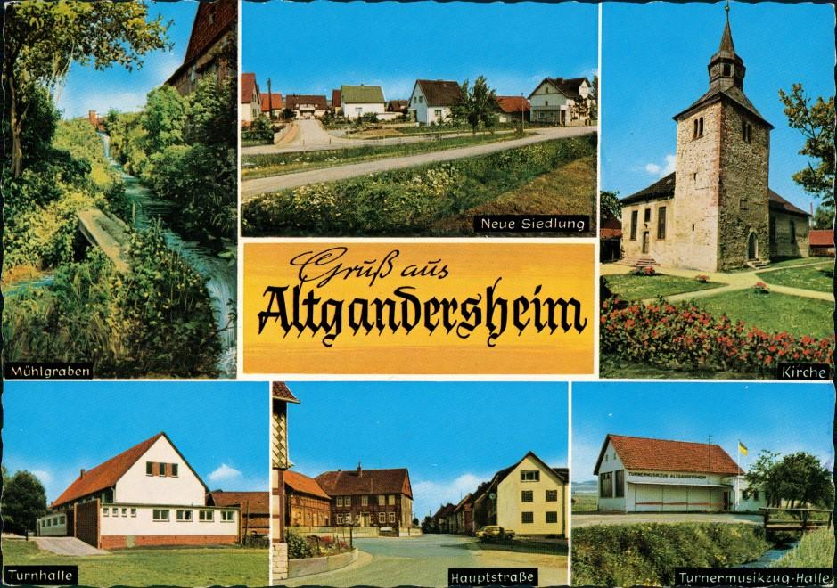 Bad Gandersheim OT Altgandersheim, Siedlung, Kirche, Turnhalle, Turnermusikzug-Halle 1972