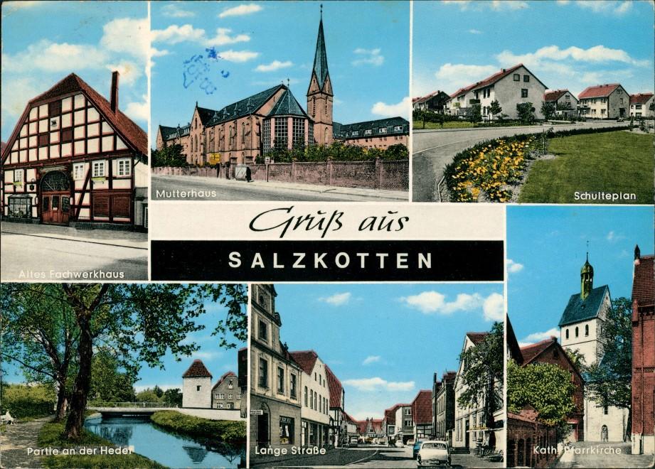 Salzkotten Mutterhaus, Schulteplan, Lange Strasse, Pfarrkirche Mehrbild-AK 1969   gelaufen mit Stempel von Salzkotten  gelaufen mit Stempel von Salzkotten