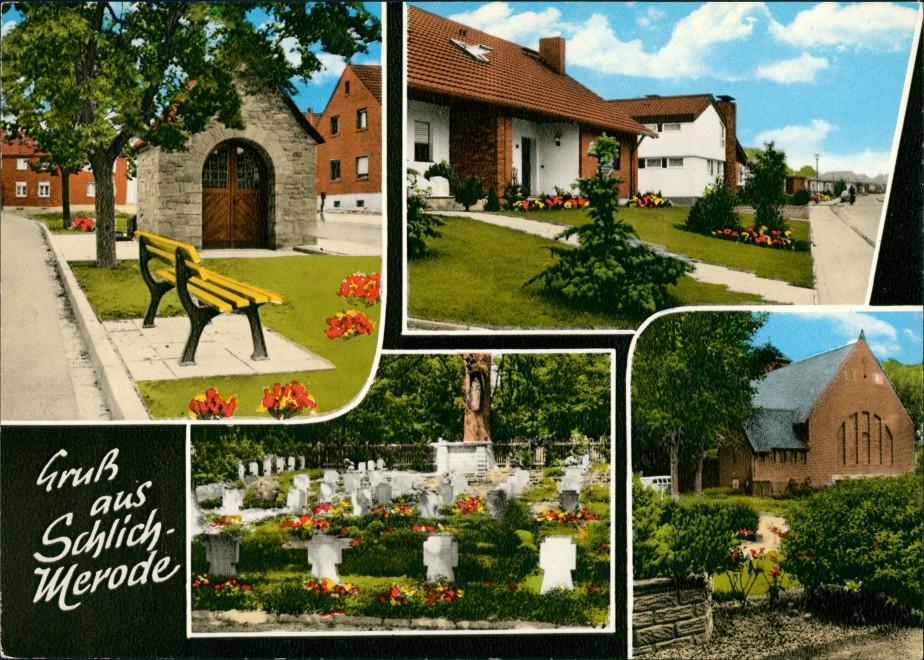 Schlich Gruss-AK 4 Ansichten Schlich OT Merode ua. Friedhof, Kirche, Wohnhaus 1979