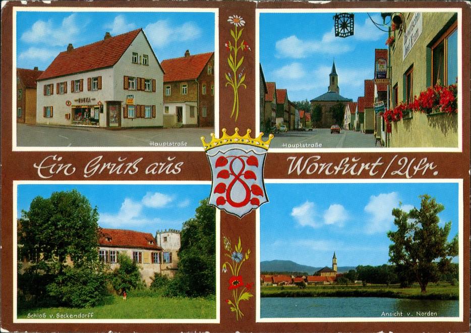 Wonfurt Mehrbildkarte 4 Fotos, ua. Edeka Geschäft, Strassen, Schloss Seckendorff 1982