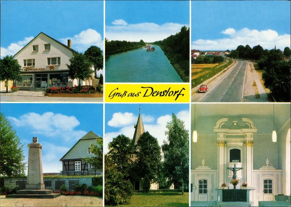 Denstorf Mehrbild-AK Geschäft, Straße mit VW Käfer, Kriegerdenkmal, Kirche, Kanal 1970