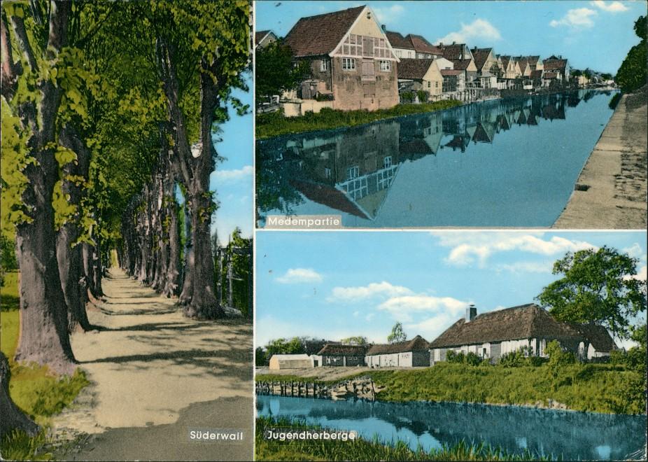 Otterndorf Fluss Medem-Partie, Allee Süderwall, Jugendherberge Mehrbild-AK 1970   AK gelaufen mit Stempel OTERNDORF  AK gelaufen mit Stempel OTERNDORF