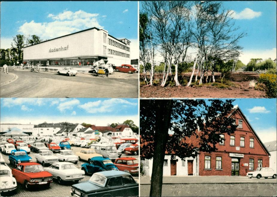 Posthausen Kaufhaus Dodenhof, Auto Parkplatz, Gaststätte Mehrbild-AK 1960