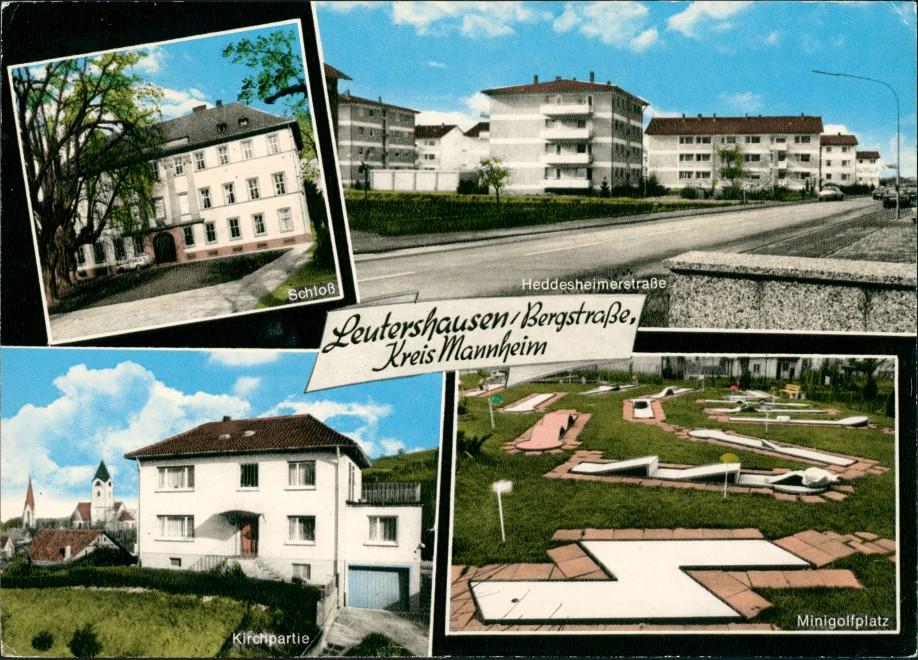 Leutershausen an der Bergstraße Schloß, Heddesheimer-Str. Wohnblock, Kirchpartie, Minigolfplatz 1970