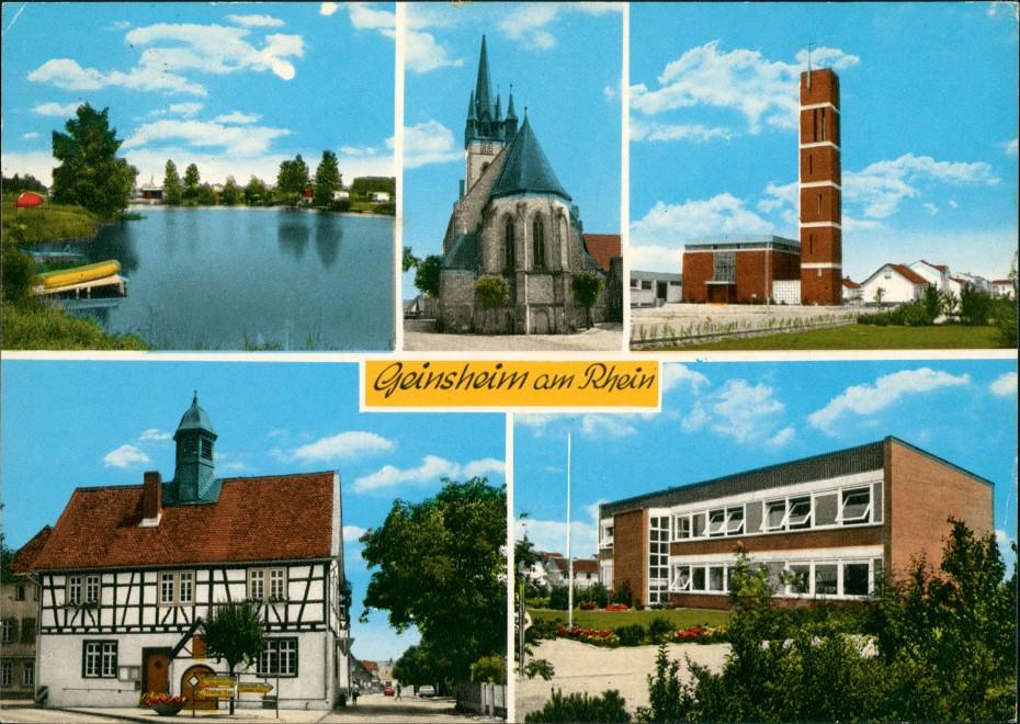 Geinsheim Geinsheim am Rhein, Trebur, Mehrbild-AK Kirche, Schule uvm. 1975   AK gelaufen mit Stempel GEINSHEIM  AK gelaufen mit Stempel GEINSHEIM