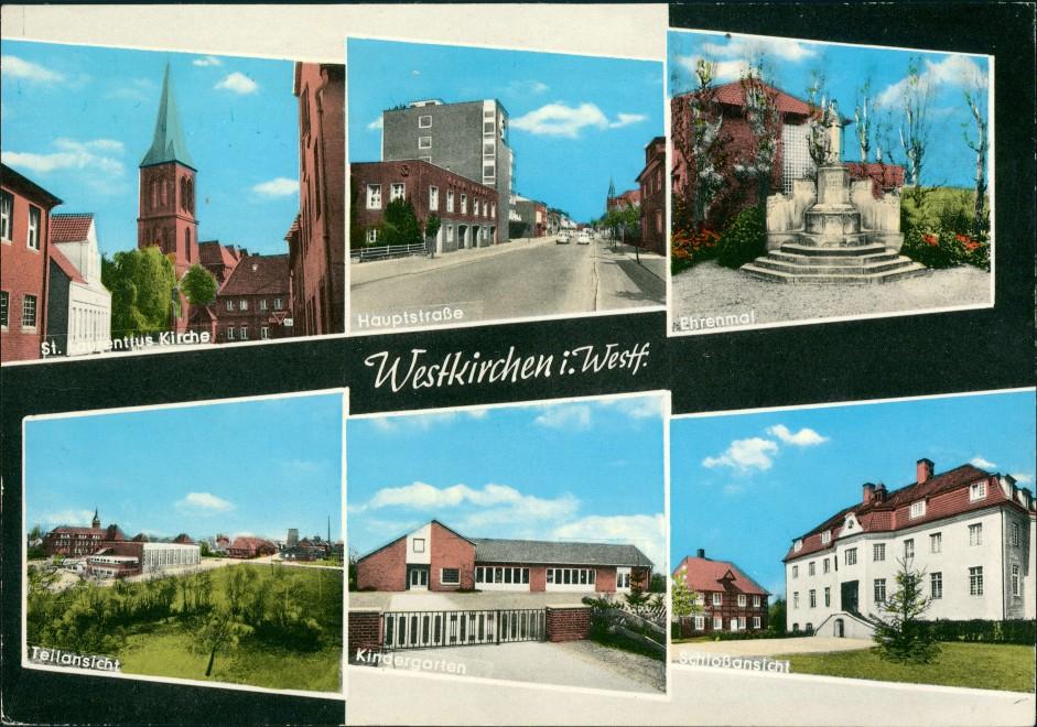 Westkirchen Mehrbild-AK Ehrenmal Kirche Hauptstraße Kindergarten Schloss 1965