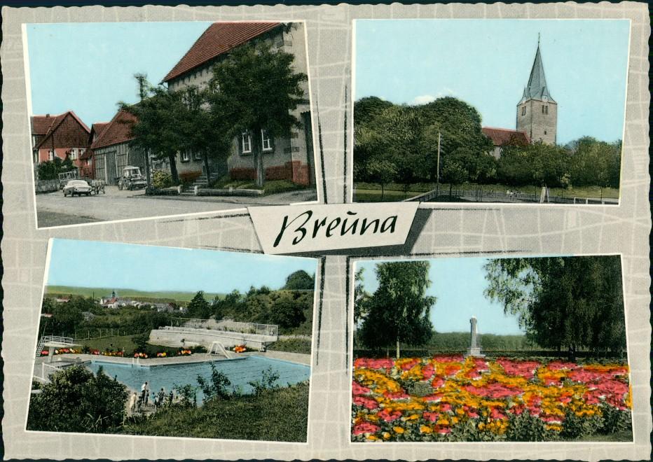 Breuna Mehrbild-AK Breuna Habichtswald Schwimmbad Kirche Straße 1960