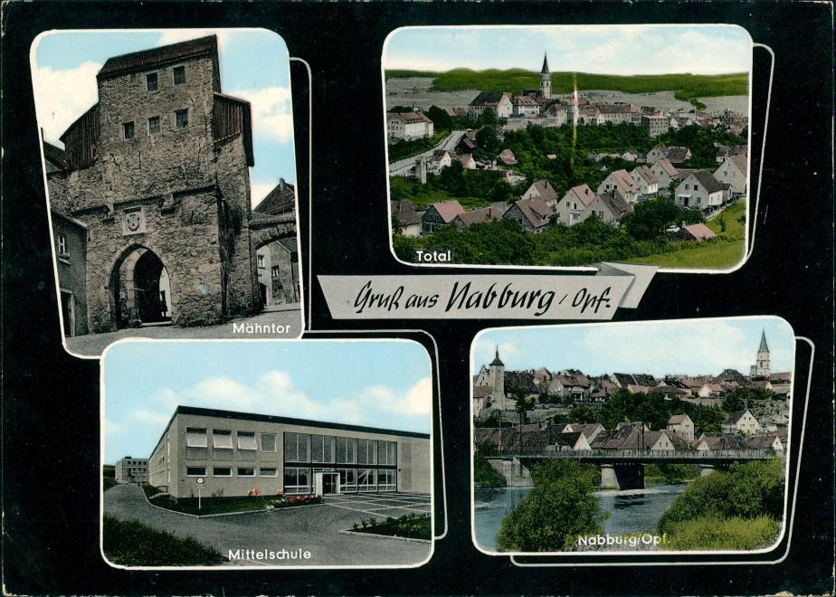 Nabburg Mähntor, Totalansicht, Schule, Fluss Brücken Partie Mehrbildkarte 1975   gelaufen mit Stempel NABBURG  gelaufen mit Stempel NABBURG