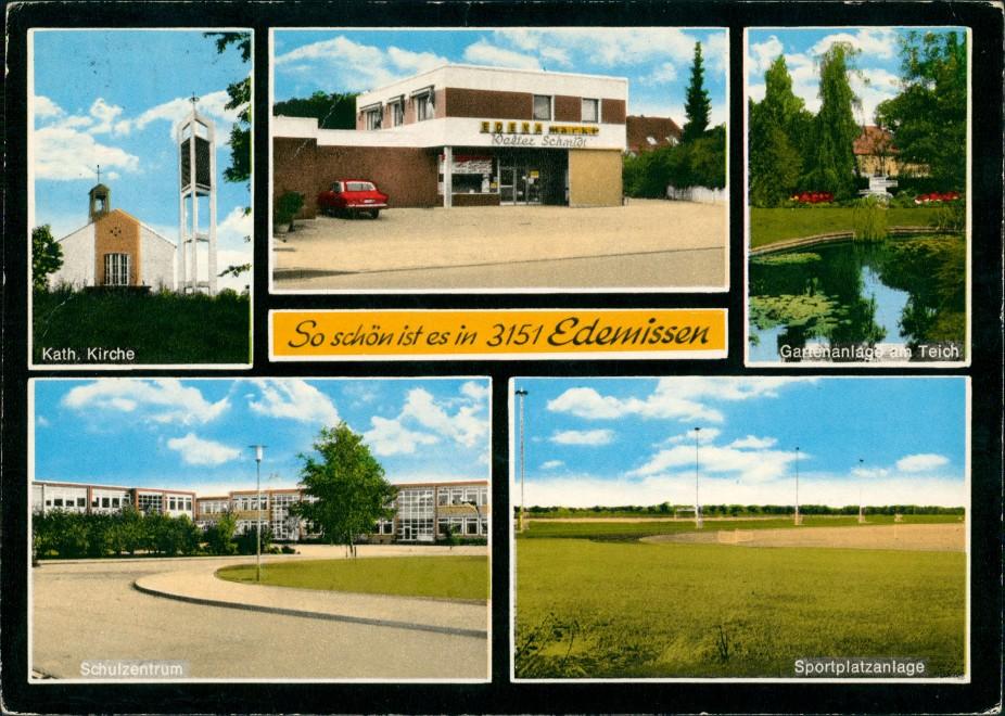 Edemissen Schule Sportplatz Teich Kath. Kirche EDEKA Geschäft Schmidt 1974