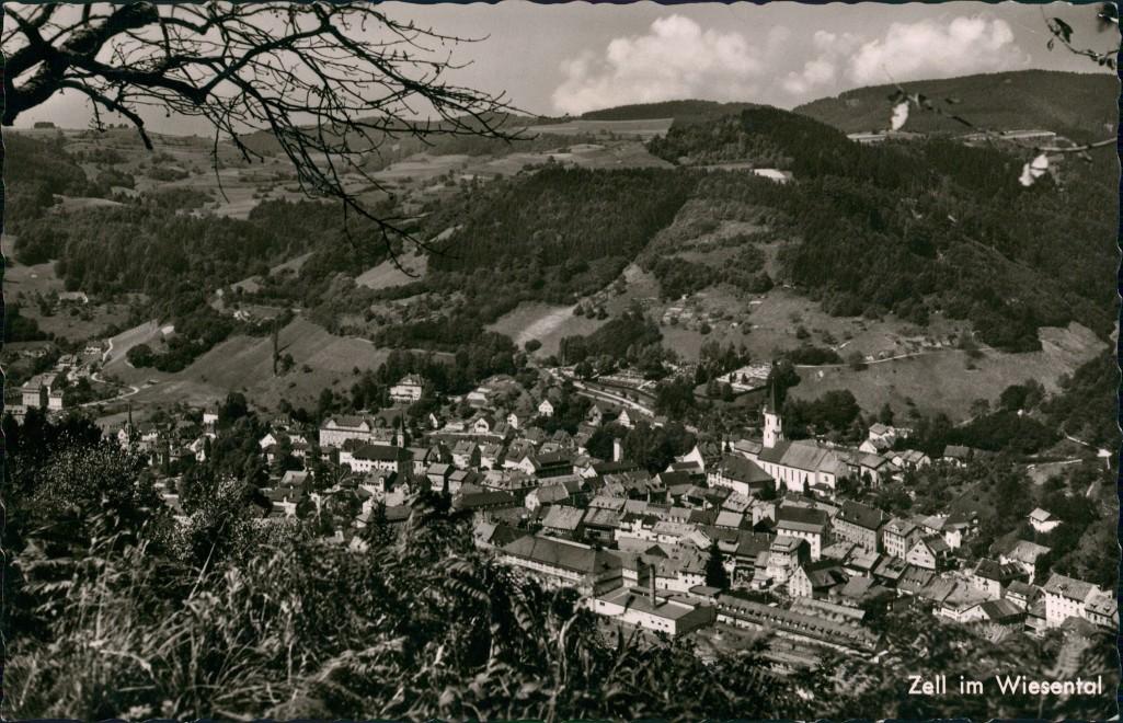Ansichtskarte Zell im Wiesental Zell im Wiesental Panorama Gesamtansicht 1964