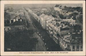Wilna Wilno Vilnius Blick in die Georgstraße - Deutsche Kolonnen 1917