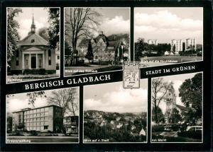 Bergisch Gladbach Kirche, Rathaus, Hochhäuser, Kreisverwaltung, Markt  1966