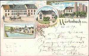 Litho AK Mürlenbach (b. Gerolstein) Gasthaus, Stadt, Forsthaus 1899