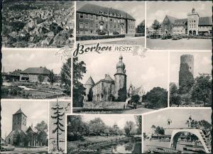 Borken (Westfalen) Luftbild, Landratsamt, Bahnhof, Kirche, Schwimmbad,  1962