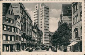 Ansichtskarte Stuttgart Tagblatt-Turmhaus, Straßenbahn - Geschäfte 1942