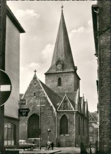 Braunschweig Michaliskirche, Strassen Partie am Brabanter Hof 1960