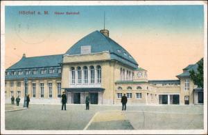 Ansichtskarte Höchst-Frankfurt am Main Neuer Bahnhof 1914