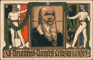 Leipzig 12. Deutsches Turnfest Turnvater Jahn Künstlerkarte 1913