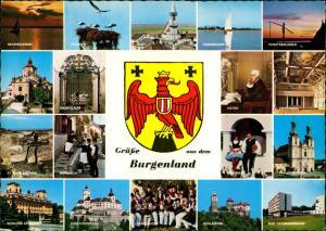 Burgenland (Österreich) Burgenland Mehrbild-AK mit Wappen und div. Fotos 1980