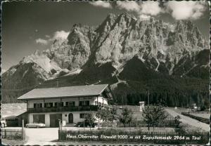 Ansichtskarte Ehrwald Haus Oberreiter mit Zuspitzmassiv Tirol 1960