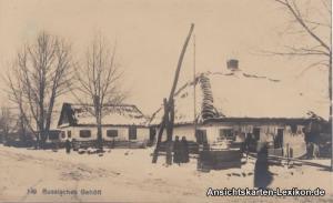 Postcard .Russland Russisches Gehöft im Winter 1917