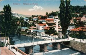 Alifakovac Blick über die Stadt Sarajevo Canton  1916