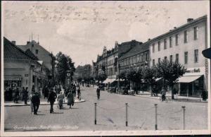 Gumbinnen Gussew (Гусев)  Straße Geschäfte Uhr belebt Geschäfte Ostpreußen 1936