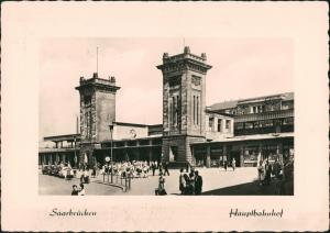Saarbrücken Hauptbahnhof Bahnhof mit Vorplatz Railway Station 1956