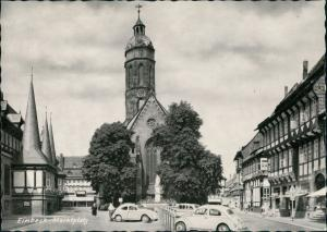Einbeck Marktplatz Kirche Geschäfte Autos ua. VW Käfer Beetle 1960