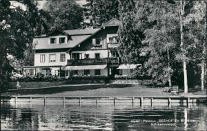 Ansichtskarte Mondsee Hotel Pension SEEHOF Mondsee Seite, Salzkammergut 1960