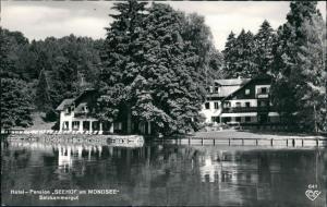 Ansichtskarte Mondsee SEEHOF Pension Hotel am Mondsee See Seiten Ansicht 1960